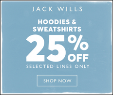 《JACK WILLS 優惠》- 全場特選Hoodies 及衛衣75優惠 (優惠至19年2月24日)