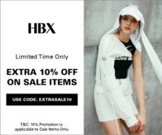 《HBX 優惠》- 減價貨品即享額外9折優惠 + 免運費
