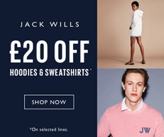 《JACK WILLS 優惠》- 男女裝Sweats and Hoodies 即減£20優惠(優惠至19年5月15日)