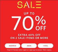 【Esprit Final Sale優惠】- 正價商品 低至3折 + 減價貨品 2件額外6折(優惠到18年7月25日)
