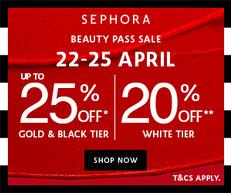【Sephora優惠】- 白卡會員: 全場貨品可享8折 黑卡/金卡會員: 全場貨品可享8折 購買滿HK$1000可享75折+限量版美容袋(優惠到2021年4月25日)