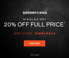 《Superdry 雙11優惠》購買正價貨品可享8折 (優惠至2020年11月15日)