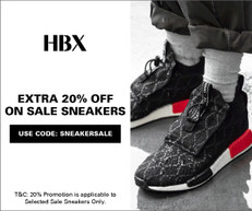 《HBX 優惠》- 精選減價運動鞋享85折優惠 + 免運費 (優惠至7月14日)