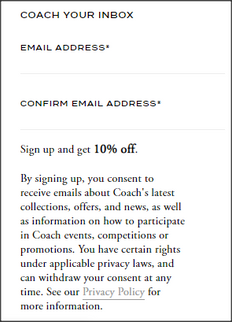 《Coach UK 新用戶優惠》-  註冊Coach電子郵件 首次購買可享9折+免運費 (優惠至2020年2月29日)