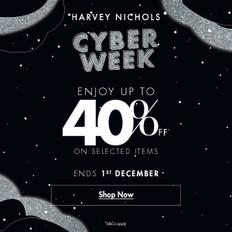《Harvey Nichols Black Friday優惠》- 精選Black Friday貨品 服裝及飾物可享低至6折化妝品可享低至9折 (優惠至2020年12月1日)