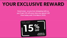 《NEW LOOK 優惠》- 賺買正價貨品滿£40即享85折+免運費 (優惠至2020年3月31日)