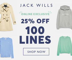 《JACK WILLS 優惠》- 特選貨品75折優惠 (優惠至19年3月3日)