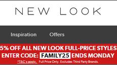 《NEW LOOK Friends & Family優惠》- 全場指定正價貨品享75折優惠+免運費 (優惠至12月16日)