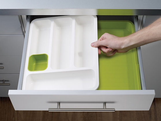 DrawerStore - Cutlery Tray-White/ Green
