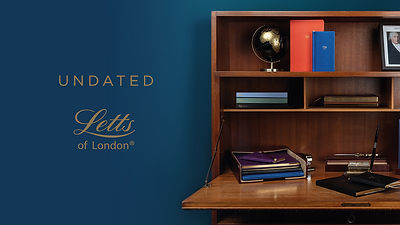 Image of desk on the right with Undated Letts of London logo positioned left
