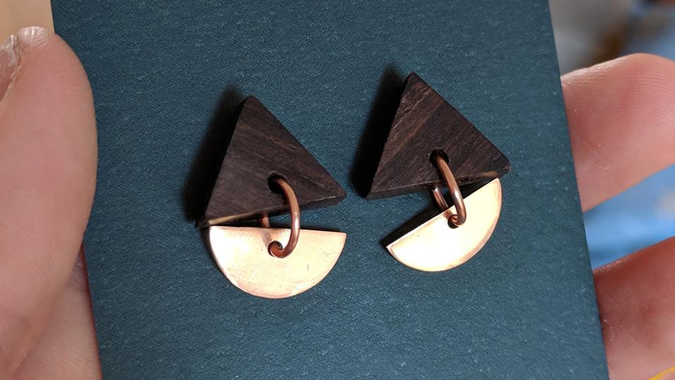 CopperMoth-Triangle-Drop-Earrings