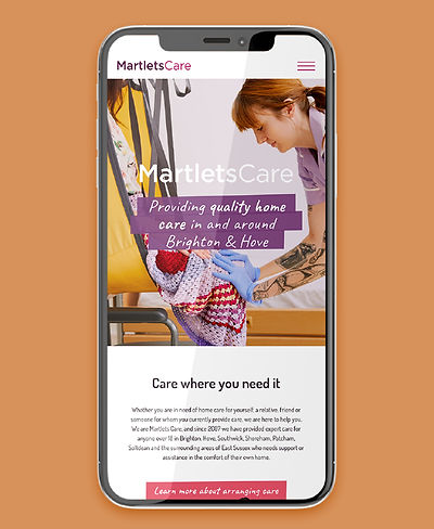 Image of iPhone screen showing MartletsCare website