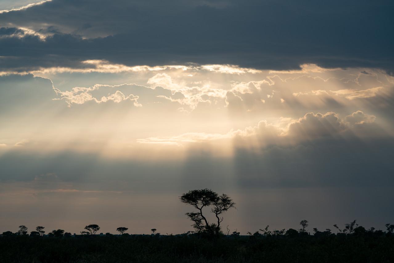 Sun Beams over the Kalahari
