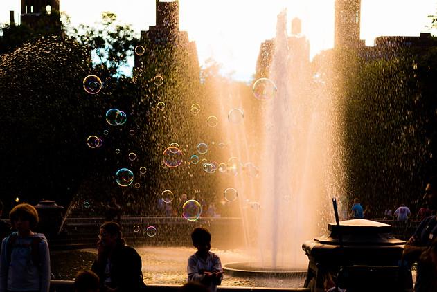 Bubbles in Washington Square Park