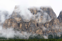 Temple Mountain Shrouded in Clouds
