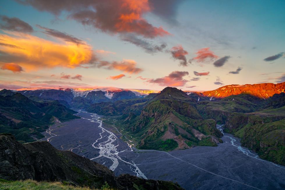 Sunset above the Thorsmörk Valley
