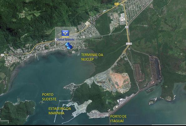 Localização junto ao Complexo portuário de Itaguaí, acesso rodoviário e marítimo