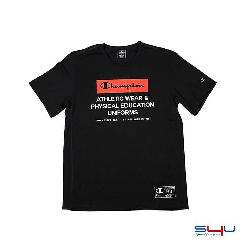 T-Shirt nera logo rosso Champion