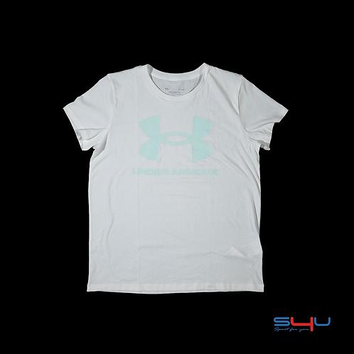 T-Shirt bianca e verde acqua Under Armour