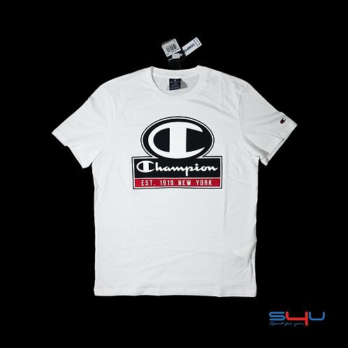 T-Shirt bianca logo nero Champion