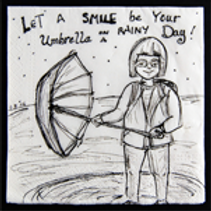 Let A smile be your umbrella on a Rainy Day!Greeting card