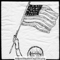 Maya waves the American Flag (no words) Magnet