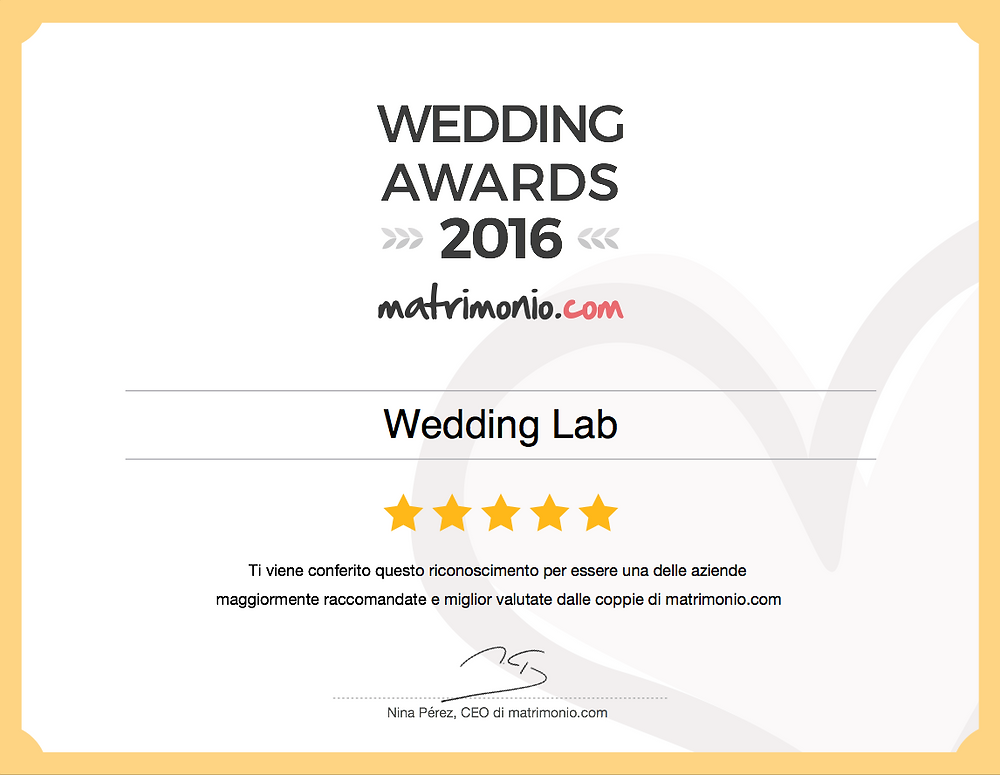 Attestato dei Wedding Awards 2016