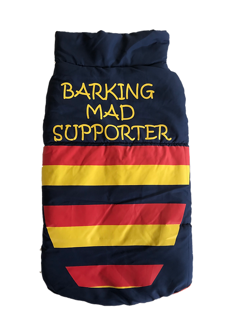 Barking Mad Crows supporter Dog Puffer Jacket