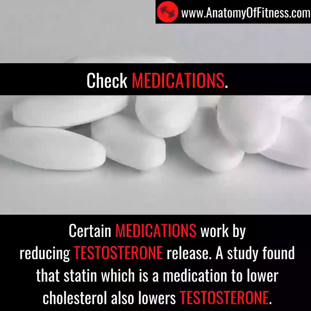 Some medications like STATINS may reduce TESTOSTERONE.