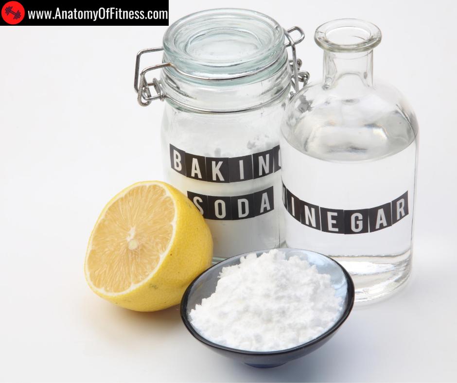 A mixture of baking soda, vinegar, lemon juice and water.