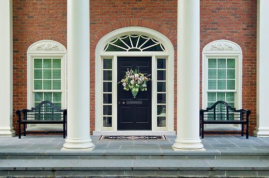 Doors open to courtyard reading garden