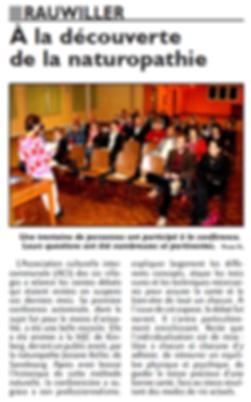 Article RL - conférence du 9 oct 2015 sur la naturopathie