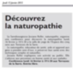 Article RL - Conférence découvrez la naturopathie 16 février 2015