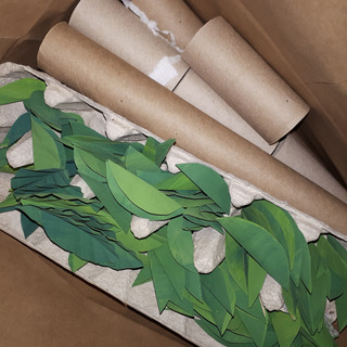 Paper Rolls and Painted Bag leaves