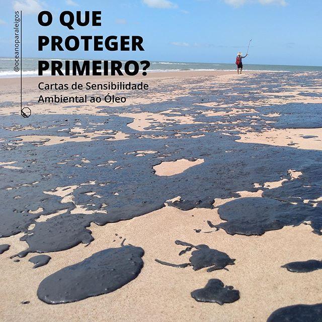 Praia coberta de petróleo