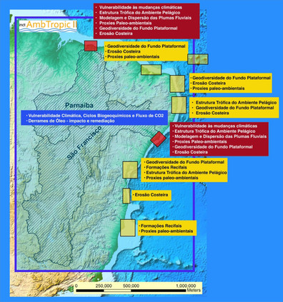 Áreas geográficas onde o inctAmbTropic fase II desempenha pesquisas
