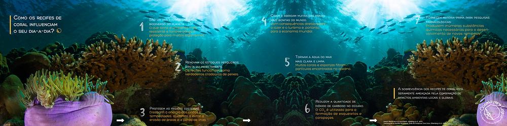 Infografico sobre a importancia dos recifes de coral