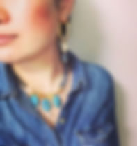 昔の写真二弾目_シトリンとガラスのマグネットネックレスと、ピアスのセット。こうい
