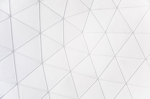 Top part of white geodesic dome structur