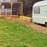 The field kitchen and Marigold the vintage caravan now reading snug/library ..awaiting her makeover!