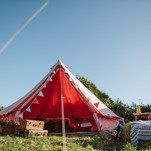 Vintage look Bell tent to hire unfurnished or with bunting, air beds, rugs and fairy light