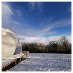 The Geo- Dome dusted in snow-half way through the project
