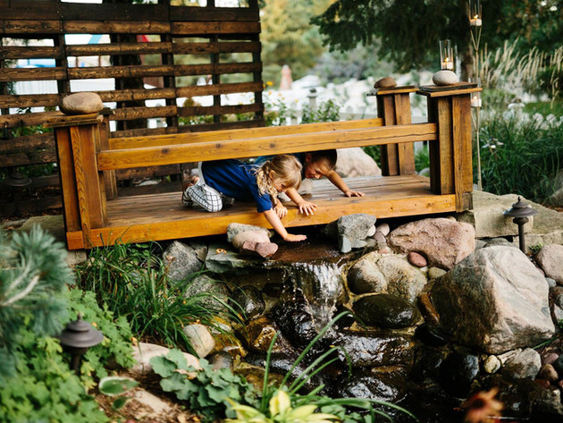 Waterfall-Pond-Custom-Wood-Bridge-Minnes