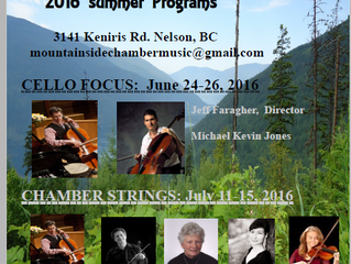 Mountainside Poster for Cello Focus (June 24-26) and Chamber Strings (July 11-15, 2016)