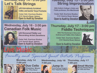 Mountainside Chamber Music Summer Festival of CLINCS & CONCERTS  Hello friends and fellow musicians,