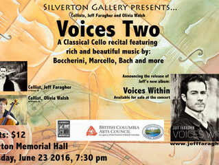VOICES TWO:  Cello Duo with Jeff Faragher and Olivia Walsh