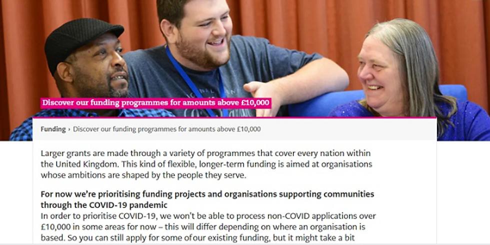 National Lottery Covid19 Grants Webinar: over £10k