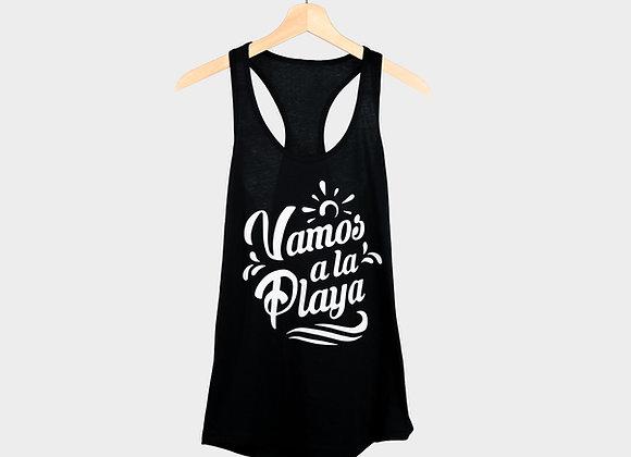 Vamos A La Playa Black Women's Tank