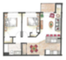 two bedroom one bathroom apartment