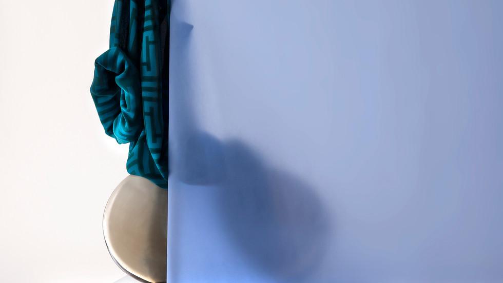 Shirt behind Transparent Blue